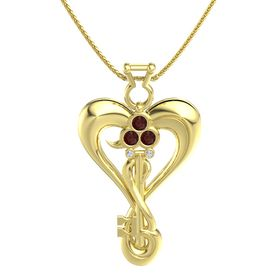 14K Yellow Gold Pendant with Red Garnet and Diamond