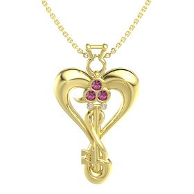 14K Yellow Gold Necklace with Rhodolite Garnet & Diamond