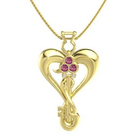 14K Yellow Gold Pendant with Rhodolite Garnet and Diamond