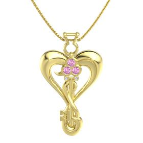 14K Yellow Gold Necklace with Pink Sapphire & White Sapphire