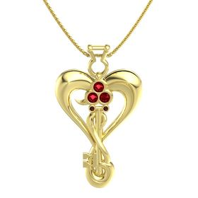 14K Yellow Gold Necklace with Ruby & Red Garnet