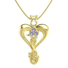 14K Yellow Gold Necklace with Tanzanite & White Sapphire