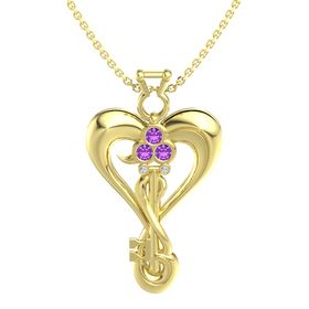 14K Yellow Gold Necklace with Amethyst & Diamond