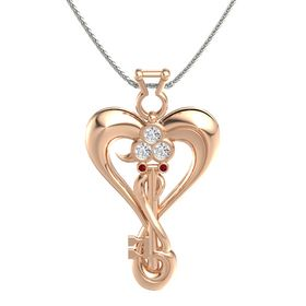 18K Rose Gold Pendant with White Sapphire and Ruby