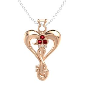 18K Rose Gold Pendant with Ruby and Diamond