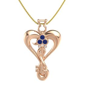 18K Rose Gold Pendant with Blue Sapphire and Diamond