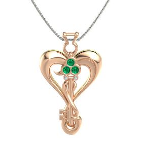 18K Rose Gold Pendant with Emerald and Diamond