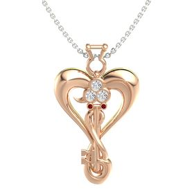 18K Rose Gold Necklace with White Sapphire & Ruby