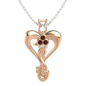18K Rose Gold Pendant with Red Garnet and Diamond