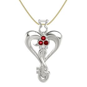 18K White Gold Pendant with Ruby and Diamond