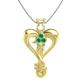 18K Yellow Gold Necklace with Emerald