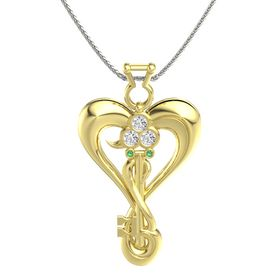 18K Yellow Gold Pendant with White Sapphire and Emerald