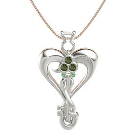 Platinum Pendant with Green Tourmaline and Emerald