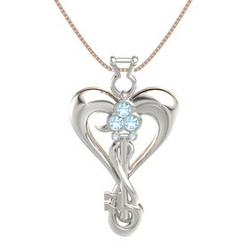 Platinum Pendant with Blue Topaz and Aquamarine