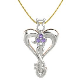 Platinum Pendant with Iolite and Diamond