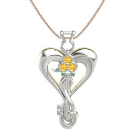 Platinum Pendant with Citrine and Emerald