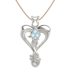 Platinum Pendant with Blue Topaz and Diamond