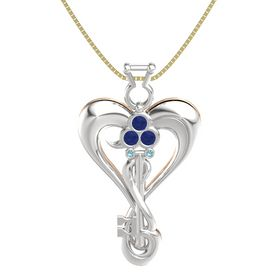 Sterling Silver Pendant with Blue Sapphire and London Blue Topaz