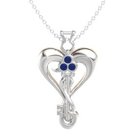 Sterling Silver Pendant with Blue Sapphire and Blue Topaz