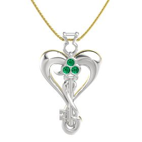 Sterling Silver Pendant with Emerald and White Sapphire