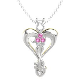 Sterling Silver Pendant with Pink Tourmaline and Diamond