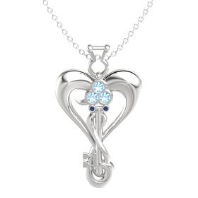 Sterling Silver Pendant with Blue Topaz and Blue Sapphire