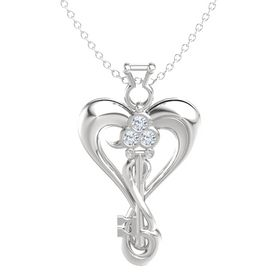 Sterling Silver Necklace with Diamond & White Sapphire