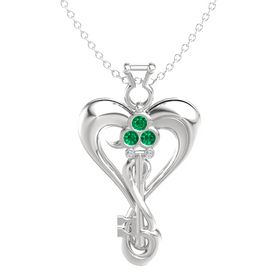 Sterling Silver Necklace with Emerald & Diamond