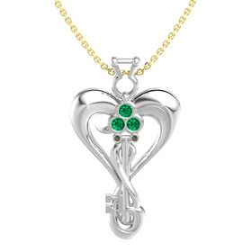 Sterling Silver Pendant with Emerald and Green Tourmaline