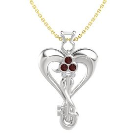 Sterling Silver Pendant with Red Garnet and Diamond