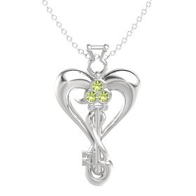 Sterling Silver Pendant with Peridot and Diamond