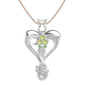 Sterling Silver Pendant with Peridot and Emerald