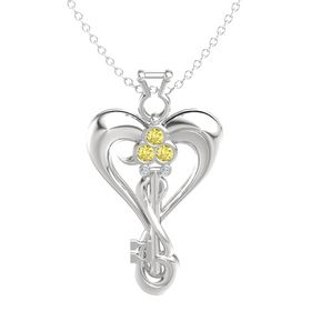 Sterling Silver Pendant with Yellow Sapphire and Diamond