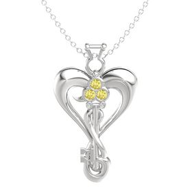 Sterling Silver Pendant with Yellow Sapphire and White Sapphire