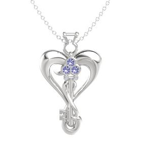 Sterling Silver Pendant with Tanzanite and Diamond