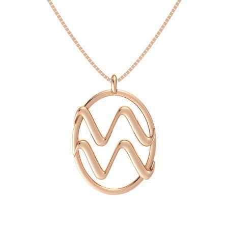 14k Rose Gold Necklace Aquarius Pendant Gemvara
