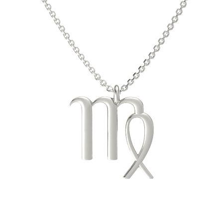 14k white gold necklace virgo pendant gemvara virgo pendant aloadofball Images
