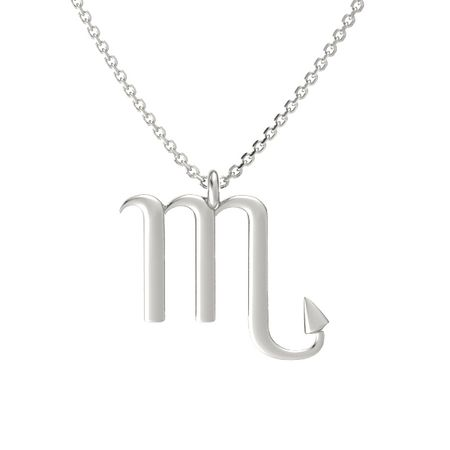 14k white gold necklace scorpio pendant gemvara scorpio pendant mozeypictures Image collections