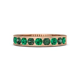 14K Rose Gold Ring with Emerald and Alexandrite