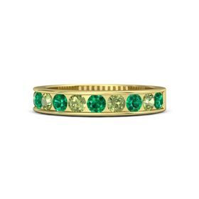 18K Yellow Gold Ring with Emerald and Peridot