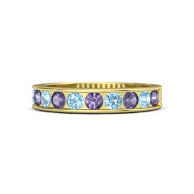18K Yellow Gold Ring with Iolite & Blue Topaz