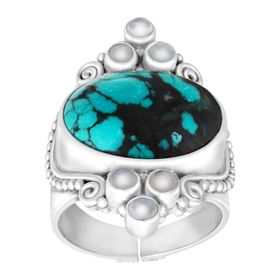 Turquoise and Moonstone Scroll Ring
