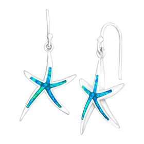 Blue Opal Starfish Drop Earrings