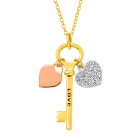 Crystal Heart 'Love' Key Charm Pendant