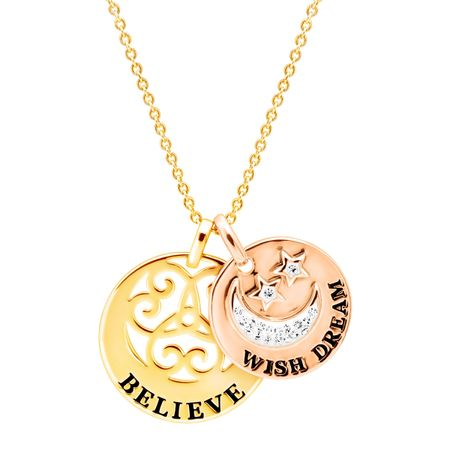 'Wish Dream Believe' Crystal Two-Tone Disc Pendant