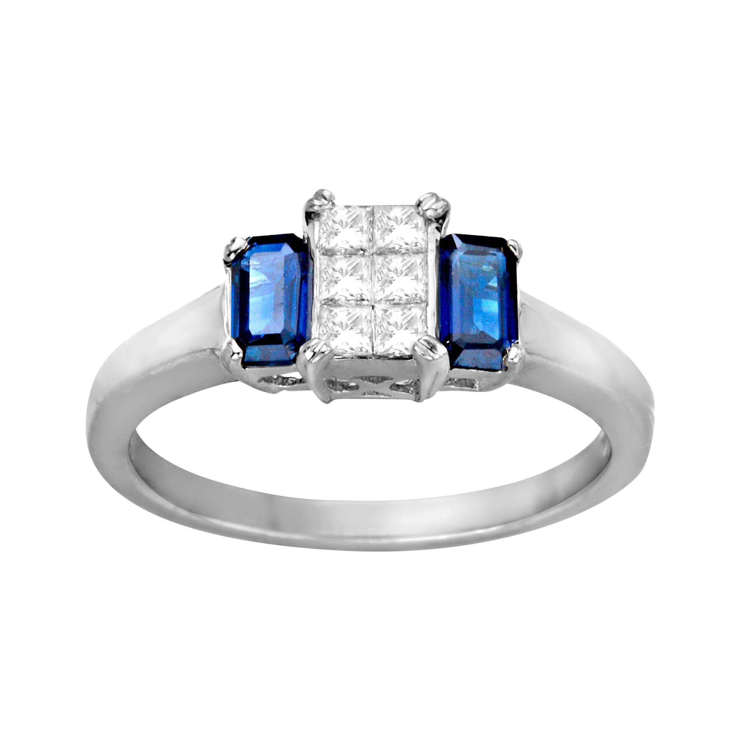 diamond ctw stud and white in sapphire a earrings gold carat blue