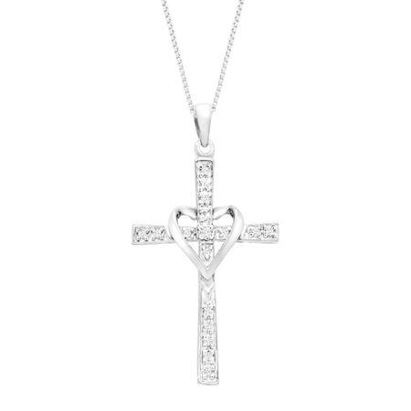 110 ct diamond cross pendant with heart in 14k white gold 110 ct 110 ct diamond cross pendant with heart aloadofball Gallery