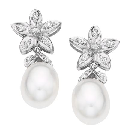 Pearl & 1/10 ct Diamond Drop Earrings