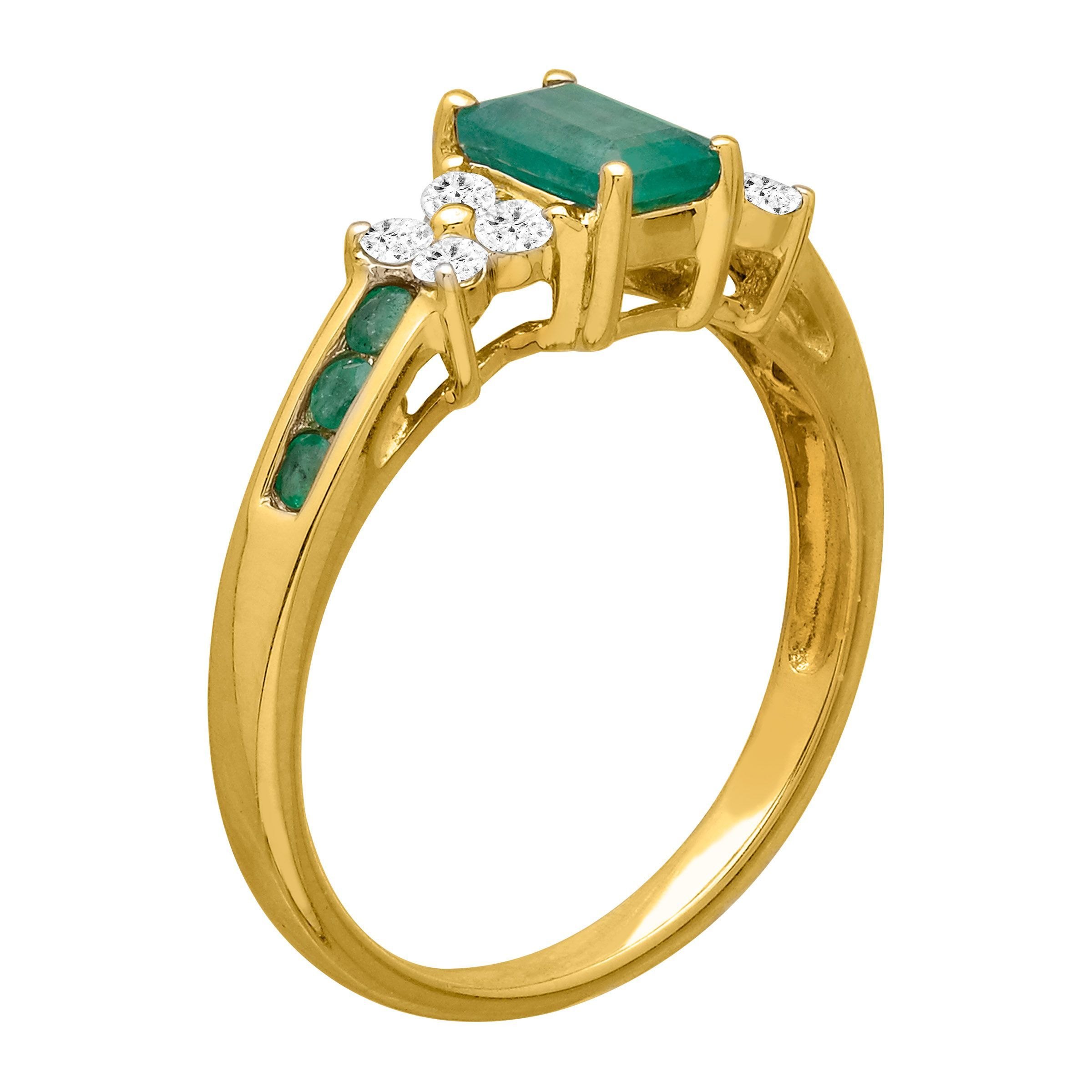 1 1 10 ct natural emerald white sapphire ring in 14k. Black Bedroom Furniture Sets. Home Design Ideas