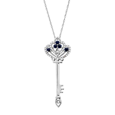14 ct natural sapphire 18 ct diamond key pendant in 14k white 14 ct sapphire 18 ct diamond key pendant aloadofball Image collections